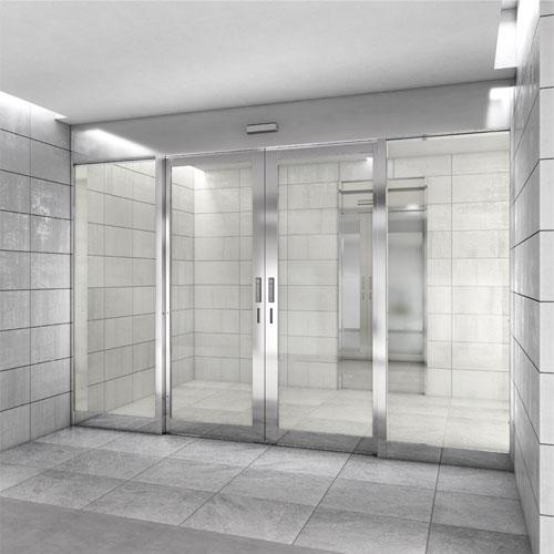 耐熱強化ガラス入り複合防火設備自動ドア EB・CAS